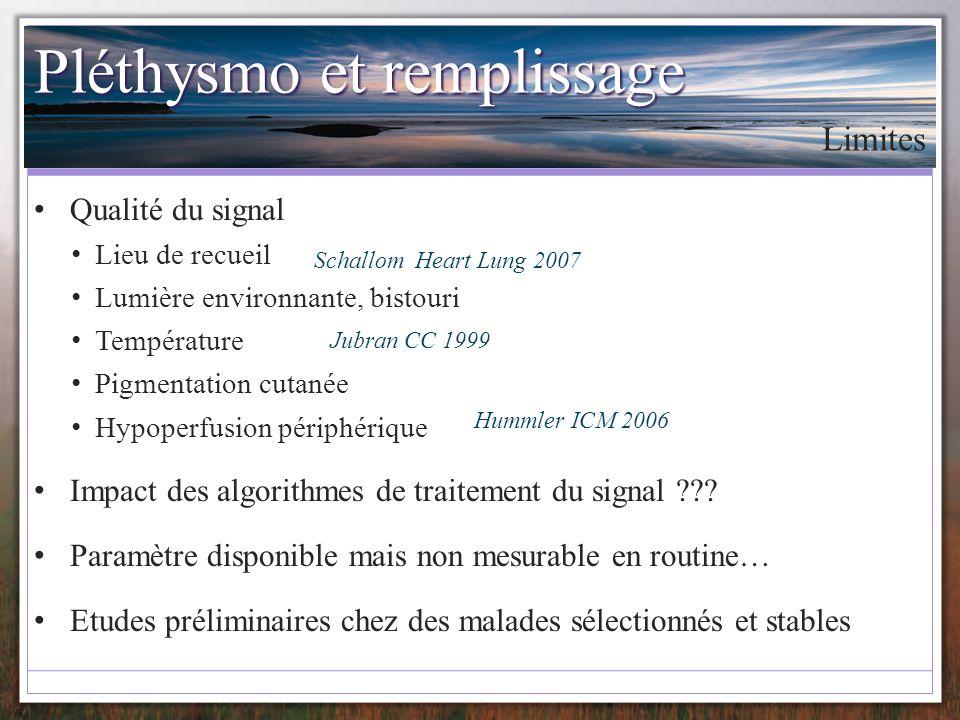 Pléthysmo et remplissage Qualité du signal Lieu de recueil Lumière environnante, bistouri Température Pigmentation cutanée Hypoperfusion périphérique