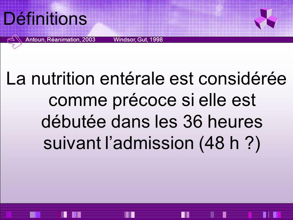 Définitions La nutrition entérale est considérée comme précoce si elle est débutée dans les 36 heures suivant ladmission (48 h ?) Antoun, Réanimation,