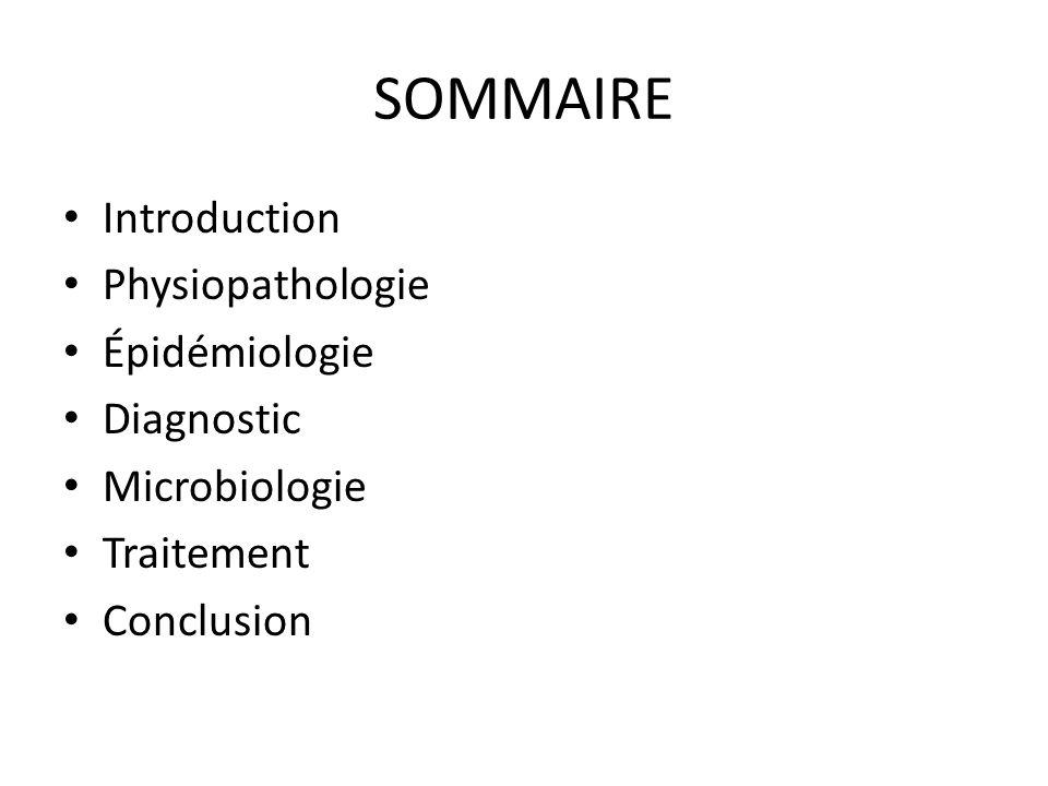 SOMMAIRE Introduction Physiopathologie Épidémiologie Diagnostic Microbiologie Traitement Conclusion