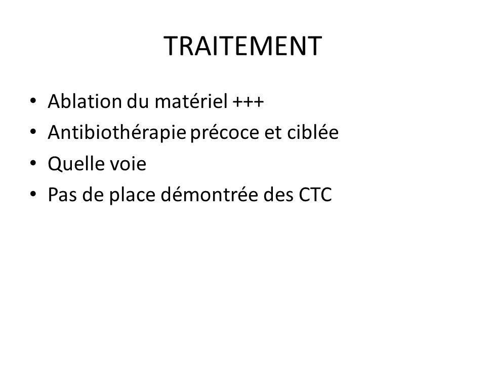TRAITEMENT Ablation du matériel +++ Antibiothérapie précoce et ciblée Quelle voie Pas de place démontrée des CTC