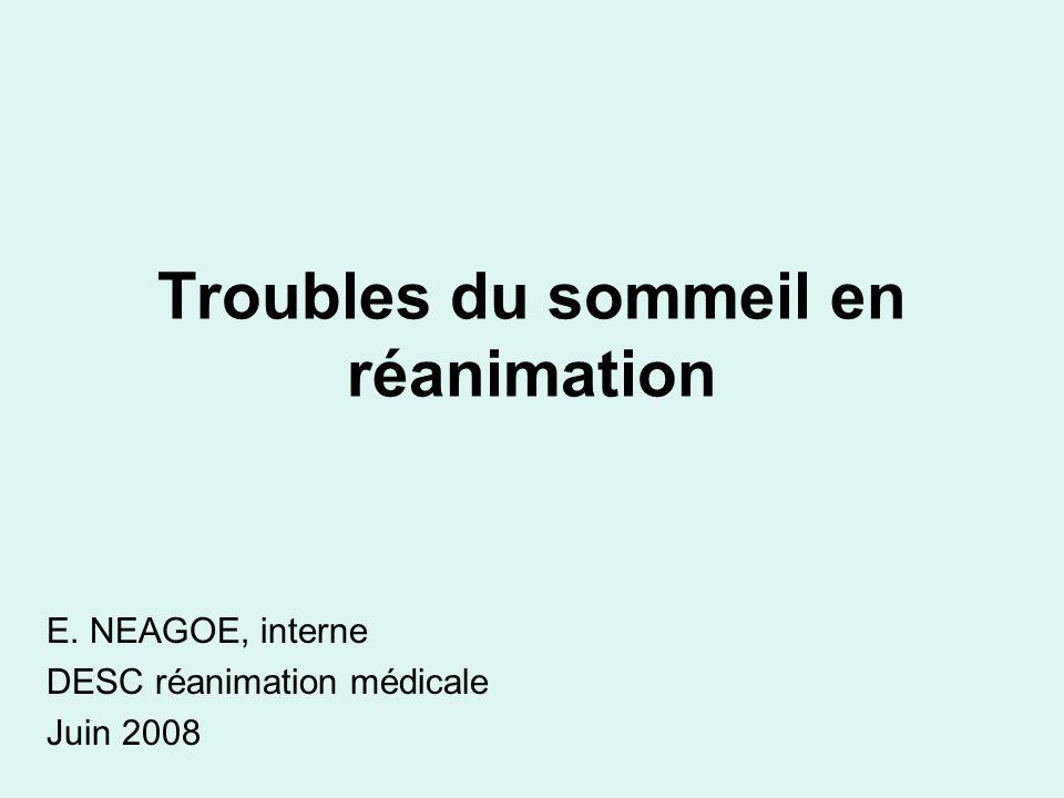 Troubles du sommeil en réanimation E. NEAGOE, interne DESC réanimation médicale Juin 2008