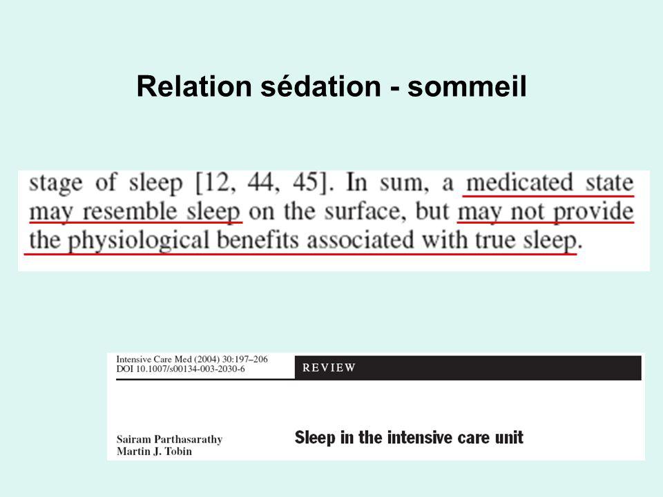 Relation sédation - sommeil