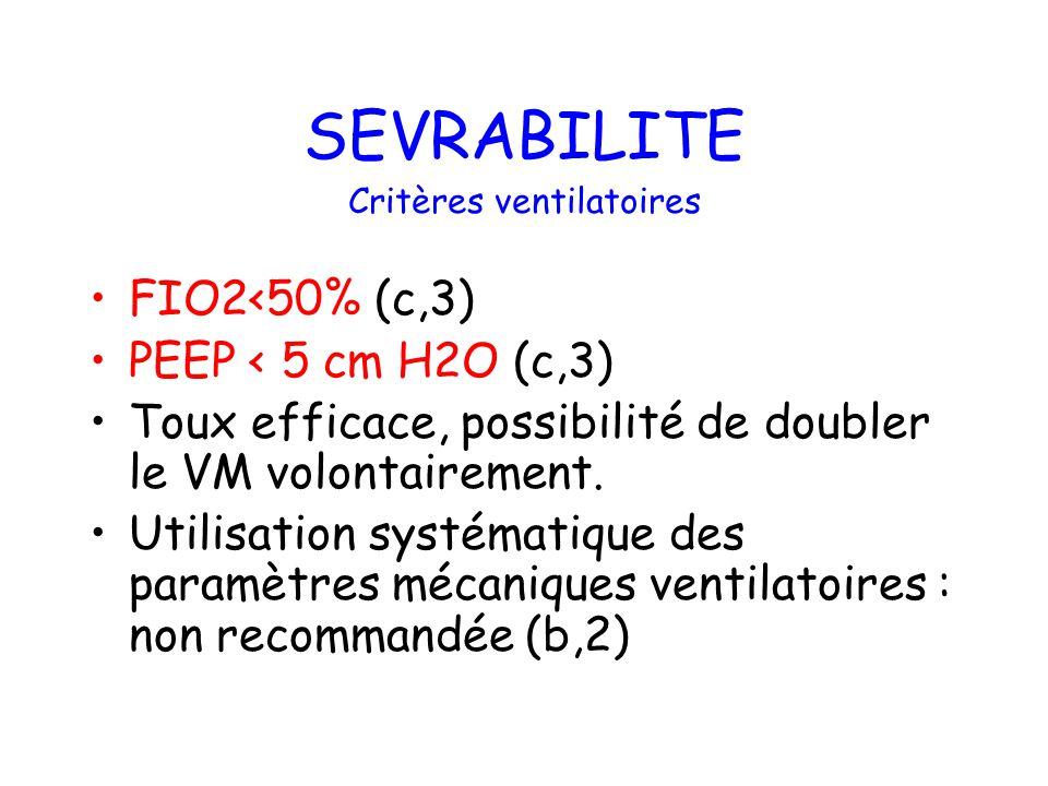 SEVRABILITE FIO2<50% (c,3) PEEP < 5 cm H2O (c,3) Toux efficace, possibilité de doubler le VM volontairement. Utilisation systématique des paramètres m