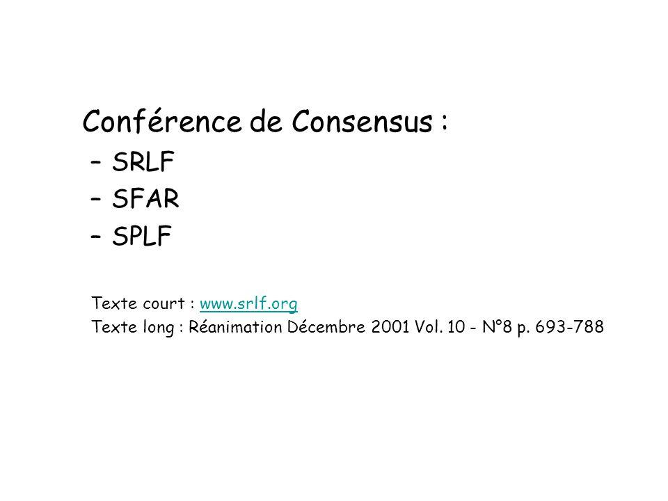 Conférence de Consensus : –SRLF –SFAR –SPLF Texte court : www.srlf.orgwww.srlf.org Texte long : Réanimation Décembre 2001 Vol. 10 - N°8 p. 693-788