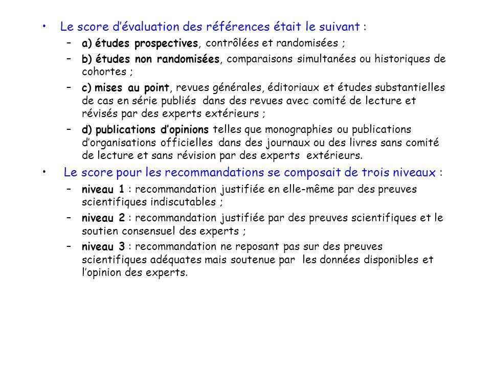 Le score dévaluation des références était le suivant : –a) études prospectives, contrôlées et randomisées ; –b) études non randomisées, comparaisons s