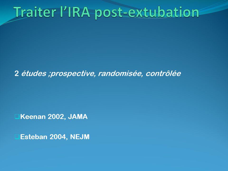2 études ;prospective, randomisée, contrôlée Keenan 2002, JAMA Esteban 2004, NEJM