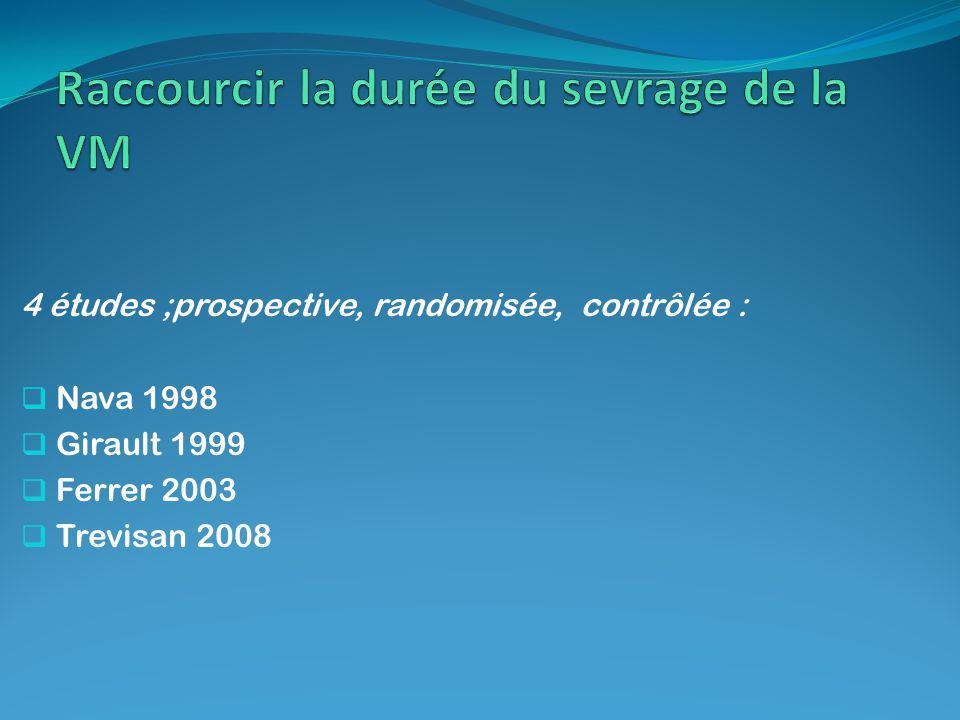 4 études ;prospective, randomisée, contrôlée : Nava 1998 Girault 1999 Ferrer 2003 Trevisan 2008