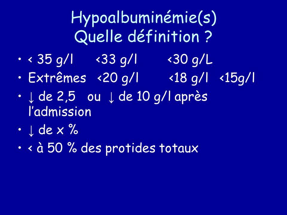 Hypoalbuminémie(s) Quelle définition .
