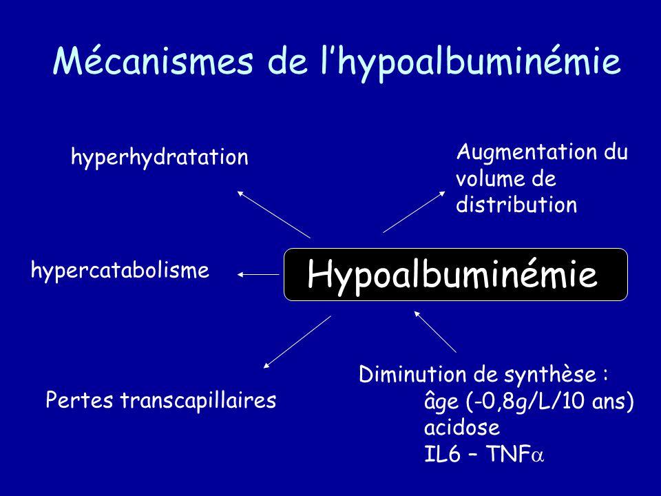 Mécanismes de lhypoalbuminémie Hypoalbuminémie Pertes transcapillaires Diminution de synthèse : âge (-0,8g/L/10 ans) acidose IL6 – TNF hyperhydratation Augmentation du volume de distribution hypercatabolisme