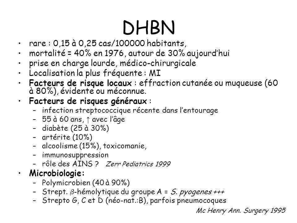 DHBN rare : 0,15 à 0,25 cas/100000 habitants, mortalité = 40% en 1976, autour de 30% aujourdhui prise en charge lourde, médico-chirurgicale Localisation la plus fréquente : MI Facteurs de risque locaux : effraction cutanée ou muqueuse (60 à 80%), évidente ou méconnue.