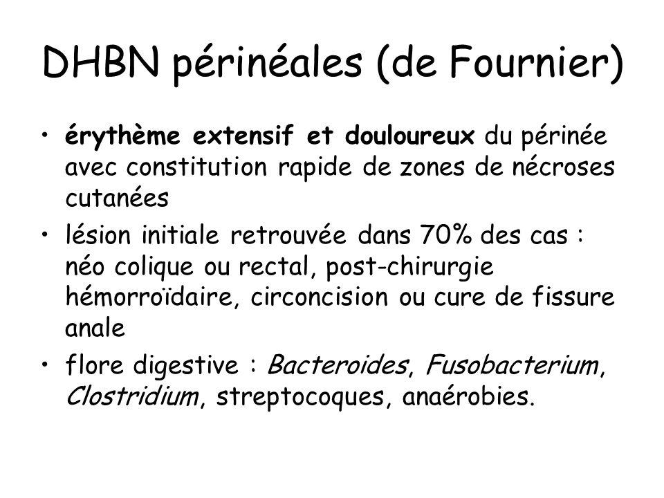 DHBN périnéales (de Fournier) érythème extensif et douloureux du périnée avec constitution rapide de zones de nécroses cutanées lésion initiale retrouvée dans 70% des cas : néo colique ou rectal, post-chirurgie hémorroïdaire, circoncision ou cure de fissure anale flore digestive : Bacteroides, Fusobacterium, Clostridium, streptocoques, anaérobies.