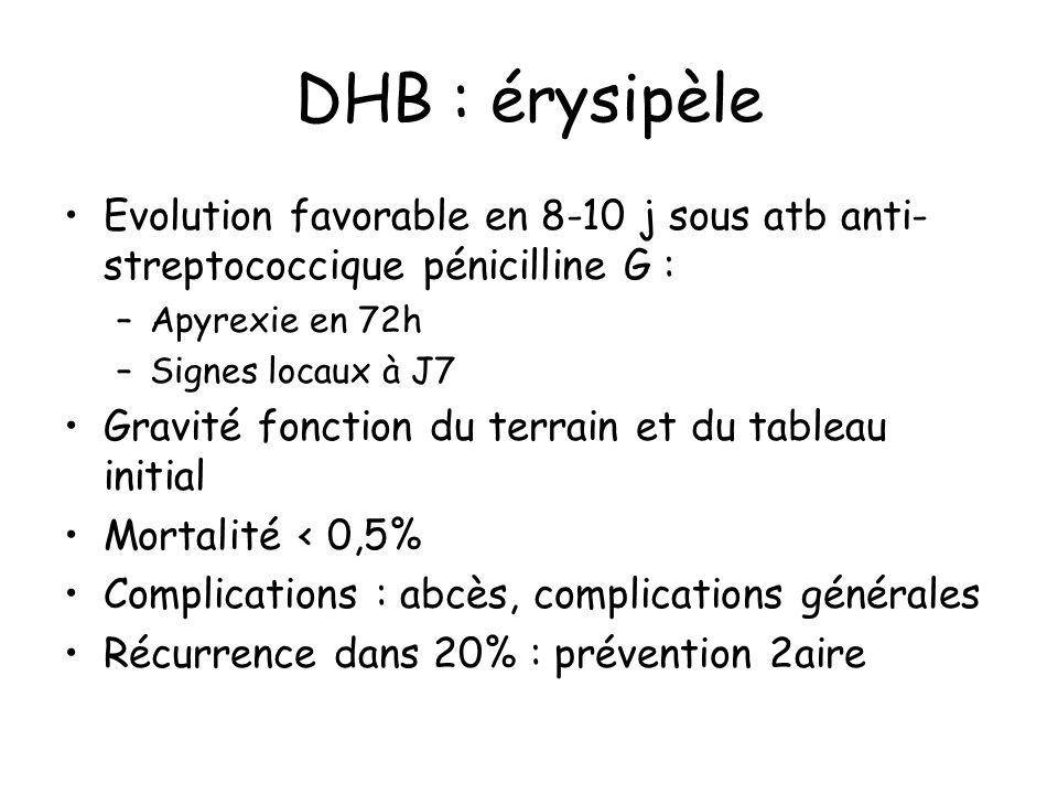 DHB : érysipèle Evolution favorable en 8-10 j sous atb anti- streptococcique pénicilline G : –Apyrexie en 72h –Signes locaux à J7 Gravité fonction du terrain et du tableau initial Mortalité < 0,5% Complications : abcès, complications générales Récurrence dans 20% : prévention 2aire