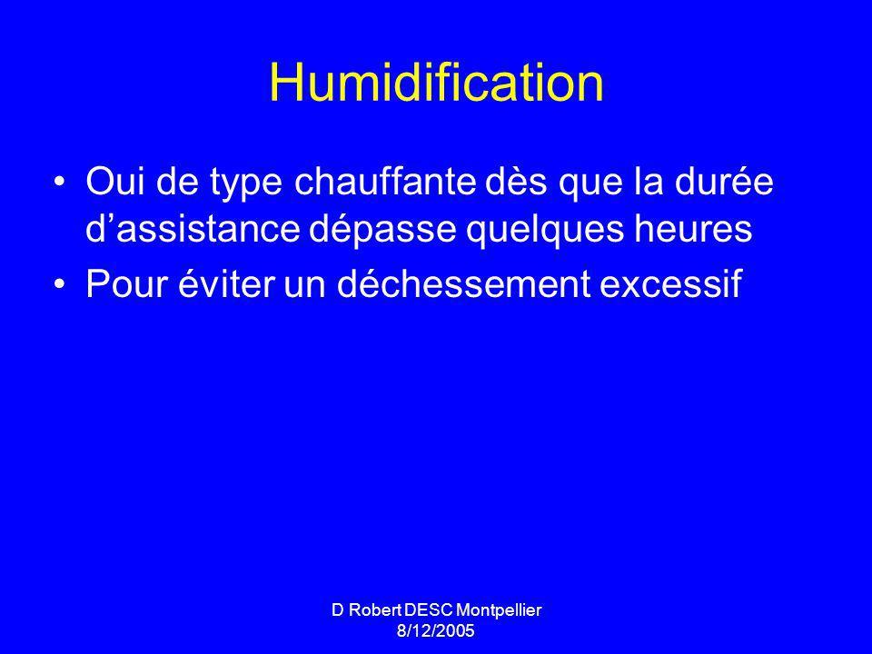 D Robert DESC Montpellier 8/12/2005 Humidification Oui de type chauffante dès que la durée dassistance dépasse quelques heures Pour éviter un déchessement excessif