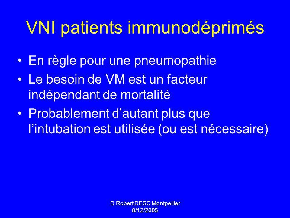 D Robert DESC Montpellier 8/12/2005 VNI patients immunodéprimés En règle pour une pneumopathie Le besoin de VM est un facteur indépendant de mortalité Probablement dautant plus que lintubation est utilisée (ou est nécessaire)