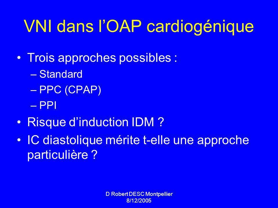 D Robert DESC Montpellier 8/12/2005 VNI dans lOAP cardiogénique Trois approches possibles : –Standard –PPC (CPAP) –PPI Risque dinduction IDM .