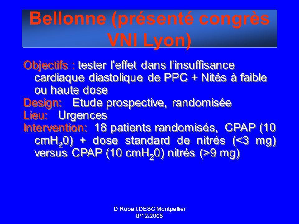Bellonne (présenté congrès VNI Lyon) Objectifs : tester leffet dans linsuffisance cardiaque diastolique de PPC + Nités à faible ou haute dose Design: Etude prospective, randomisée Lieu: Urgences Intervention: 18 patients randomisés, CPAP (10 cmH 2 0) + dose standard de nitrés ( 9 mg) Objectifs : tester leffet dans linsuffisance cardiaque diastolique de PPC + Nités à faible ou haute dose Design: Etude prospective, randomisée Lieu: Urgences Intervention: 18 patients randomisés, CPAP (10 cmH 2 0) + dose standard de nitrés ( 9 mg)