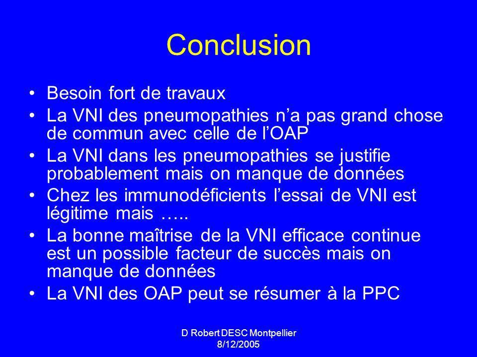 D Robert DESC Montpellier 8/12/2005 Conclusion Besoin fort de travaux La VNI des pneumopathies na pas grand chose de commun avec celle de lOAP La VNI dans les pneumopathies se justifie probablement mais on manque de données Chez les immunodéficients lessai de VNI est légitime mais …..