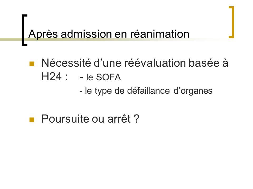 Après admission en réanimation Nécessité dune réévaluation basée à H24 :- le SOFA - le type de défaillance dorganes Poursuite ou arrêt ?