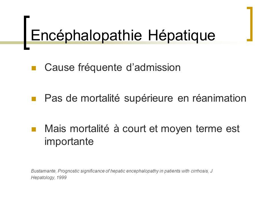 Encéphalopathie Hépatique Cause fréquente dadmission Pas de mortalité supérieure en réanimation Mais mortalité à court et moyen terme est importante Bustamante, Prognostic significance of hepatic encephalopathy in patients with cirrhosis, J Hepatology, 1999