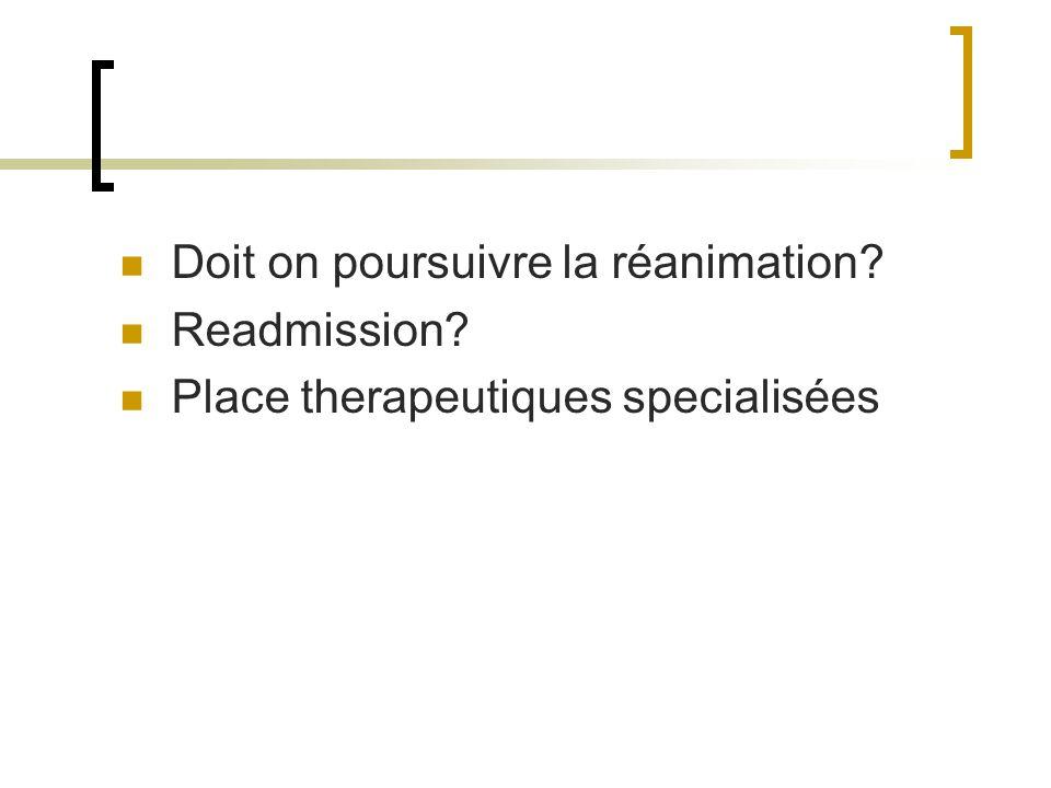 Doit on poursuivre la réanimation? Readmission? Place therapeutiques specialisées