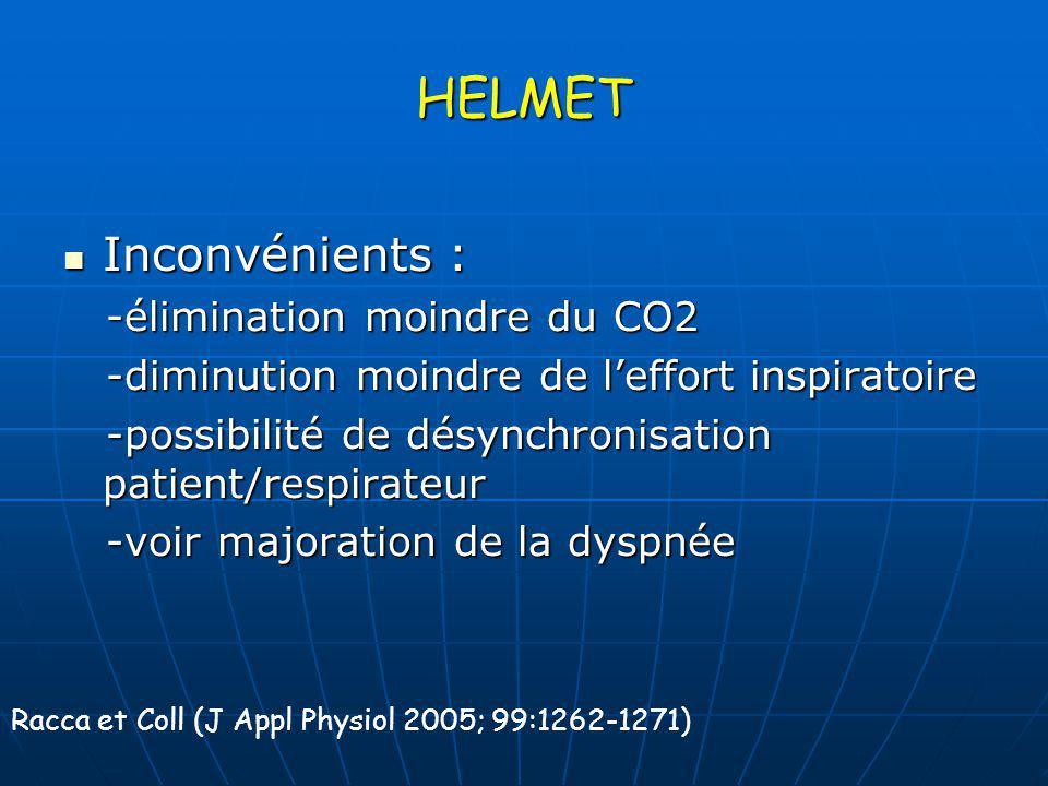 HELMET Inconvénients : Inconvénients : -élimination moindre du CO2 -élimination moindre du CO2 -diminution moindre de leffort inspiratoire -diminution