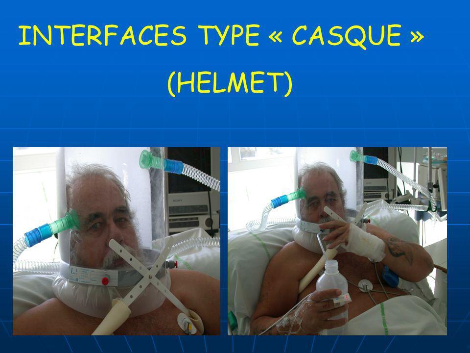 INTERFACE NASALE vs FACIALE INTERFACE AVANTAGES AVANTAGESINCONVENIENTS NASALE -risque dinhalation -risque dinhalation -élimination plus facile des sécrétions -claustrophobie -claustrophobie -parole/alimentation facilitées -facile à mettre et à attacher -espace mort -espace mort -fuites buccales -résistance + élevée à travers le nez -efficacité si obstruction nasale -irritation nasale, rhinorrhée et sécheresse buccale FACIALE -meilleur contrôle des fuites buccales -plus efficace avec les « mouth-breathers », surtout en cas dutilisation en période aigue -espace mort -espace mort -claustrophobie -claustrophobie -risque dinhalation -risque dinhalation -parole/alimentation -parole/alimentation -risque dasphyxie en cas de dysfonction du respirateur Dean R Hess Respiratory Care July 2004 Vol 49 N° 7