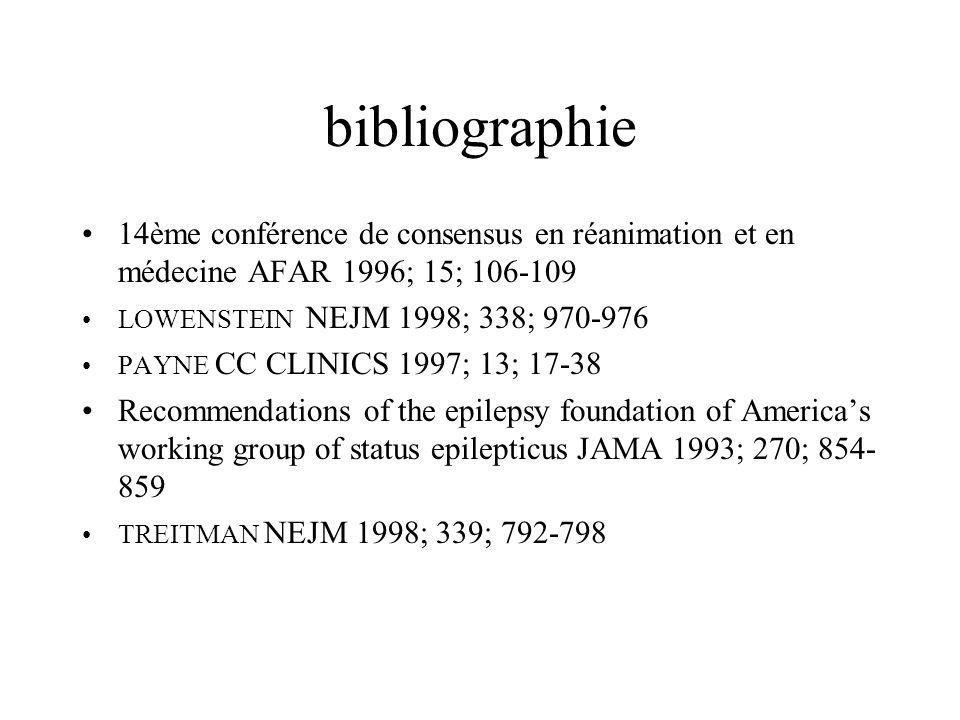 bibliographie 14ème conférence de consensus en réanimation et en médecine AFAR 1996; 15; 106-109 LOWENSTEIN NEJM 1998; 338; 970-976 PAYNE CC CLINICS 1