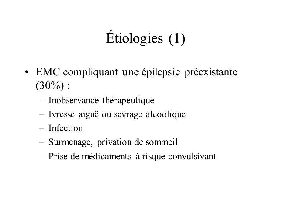 Étiologies (1) EMC compliquant une épilepsie préexistante (30%) : –Inobservance thérapeutique –Ivresse aiguë ou sevrage alcoolique –Infection –Surmena