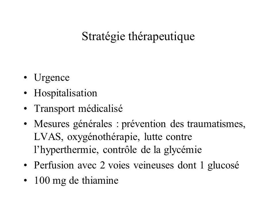 Stratégie thérapeutique Urgence Hospitalisation Transport médicalisé Mesures générales : prévention des traumatismes, LVAS, oxygénothérapie, lutte con