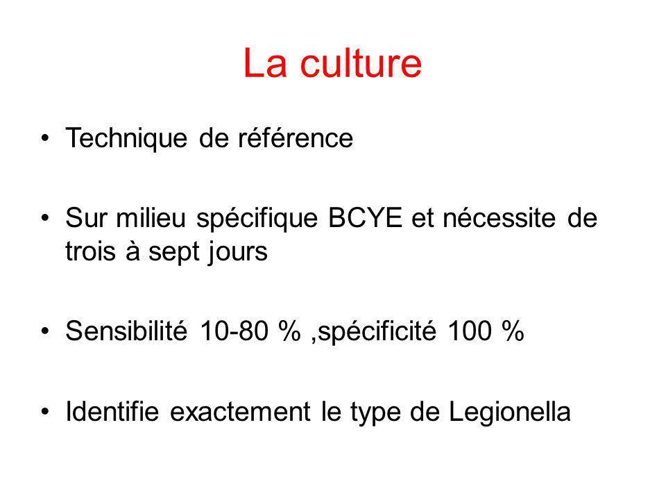 La culture Technique de référence Sur milieu spécifique BCYE et nécessite de trois à sept jours Sensibilité 10-80 %,spécificité 100 % Identifie exacte