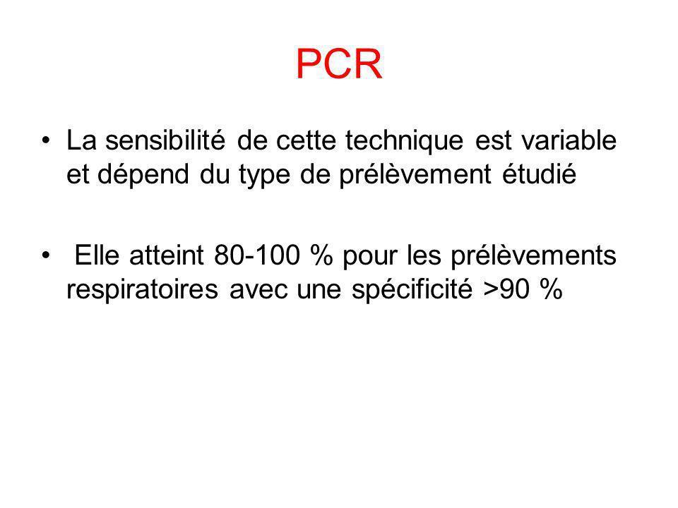 PCR La sensibilité de cette technique est variable et dépend du type de prélèvement étudié Elle atteint 80-100 % pour les prélèvements respiratoires a