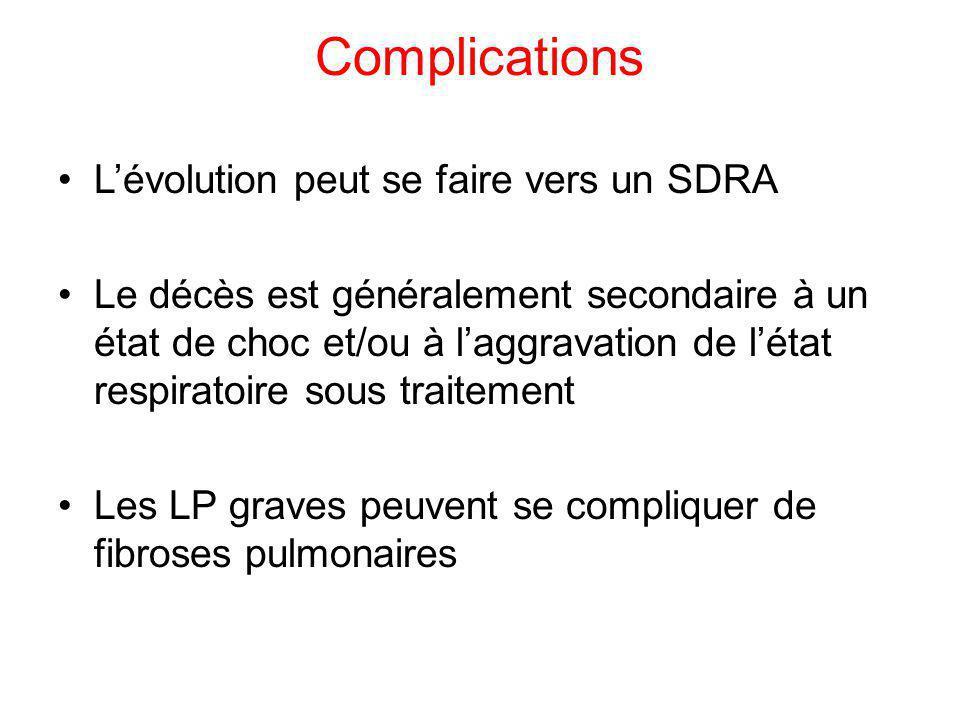 Complications Lévolution peut se faire vers un SDRA Le décès est généralement secondaire à un état de choc et/ou à laggravation de létat respiratoire