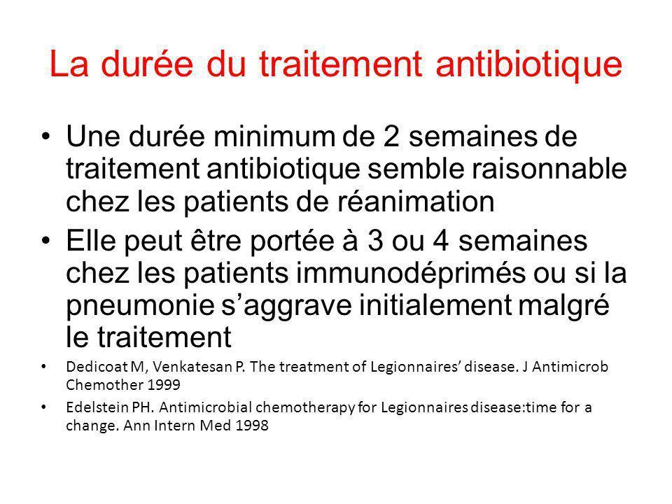 La durée du traitement antibiotique Une durée minimum de 2 semaines de traitement antibiotique semble raisonnable chez les patients de réanimation Ell