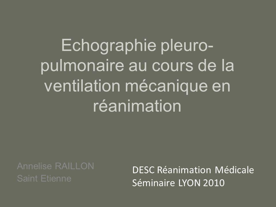 Echographie pleuro- pulmonaire au cours de la ventilation mécanique en réanimation Annelise RAILLON Saint Etienne DESC Réanimation Médicale Séminaire