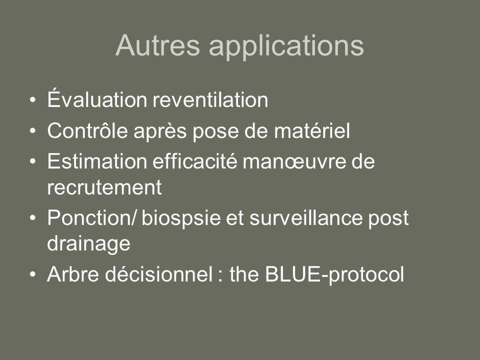 Autres applications Évaluation reventilation Contrôle après pose de matériel Estimation efficacité manœuvre de recrutement Ponction/ biospsie et surve