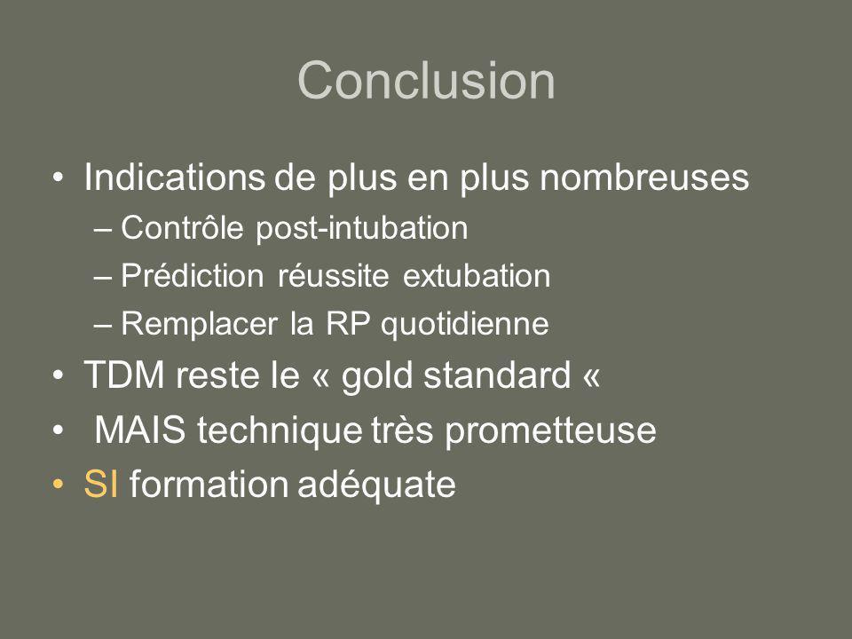 Conclusion Indications de plus en plus nombreuses –Contrôle post-intubation –Prédiction réussite extubation –Remplacer la RP quotidienne TDM reste le