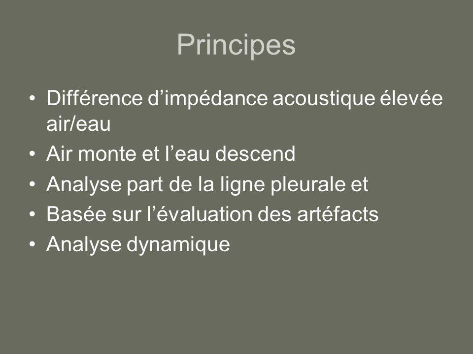 Principes Différence dimpédance acoustique élevée air/eau Air monte et leau descend Analyse part de la ligne pleurale et Basée sur lévaluation des art