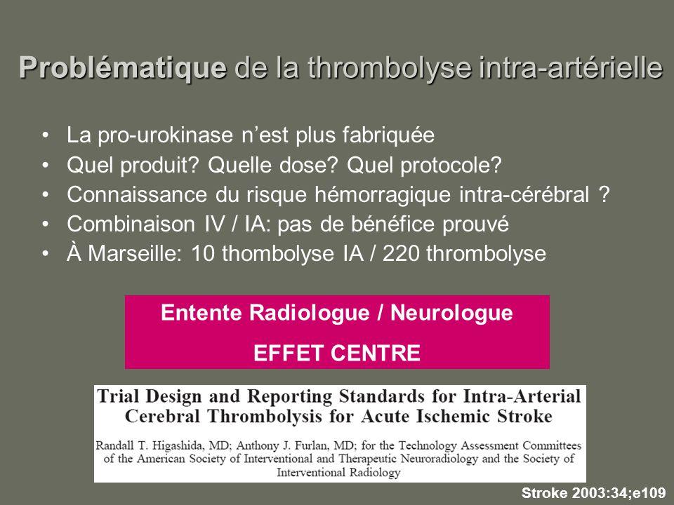 Problématique de la thrombolyse intra-artérielle La pro-urokinase nest plus fabriquée Quel produit? Quelle dose? Quel protocole? Connaissance du risqu