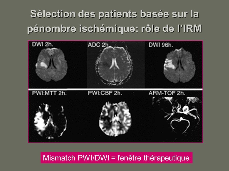 Sélection des patients basée sur la pénombre ischémique: rôle de lIRM Mismatch PWI/DWI = fenêtre thérapeutique