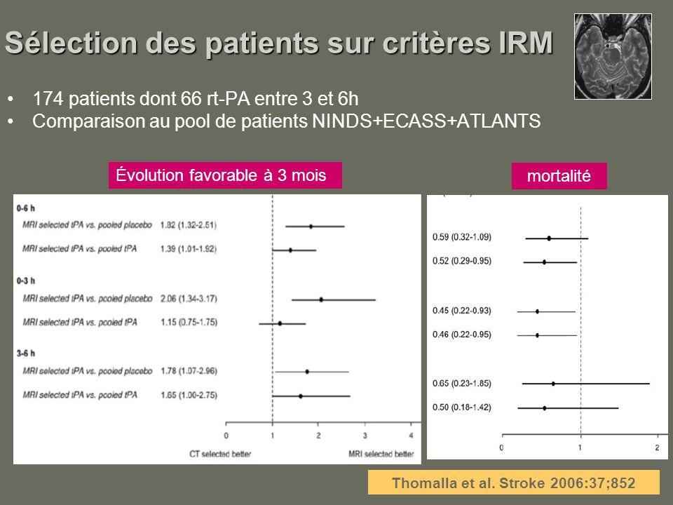 Sélection des patients sur critères IRM 174 patients dont 66 rt-PA entre 3 et 6h Comparaison au pool de patients NINDS+ECASS+ATLANTS Thomalla et al. S