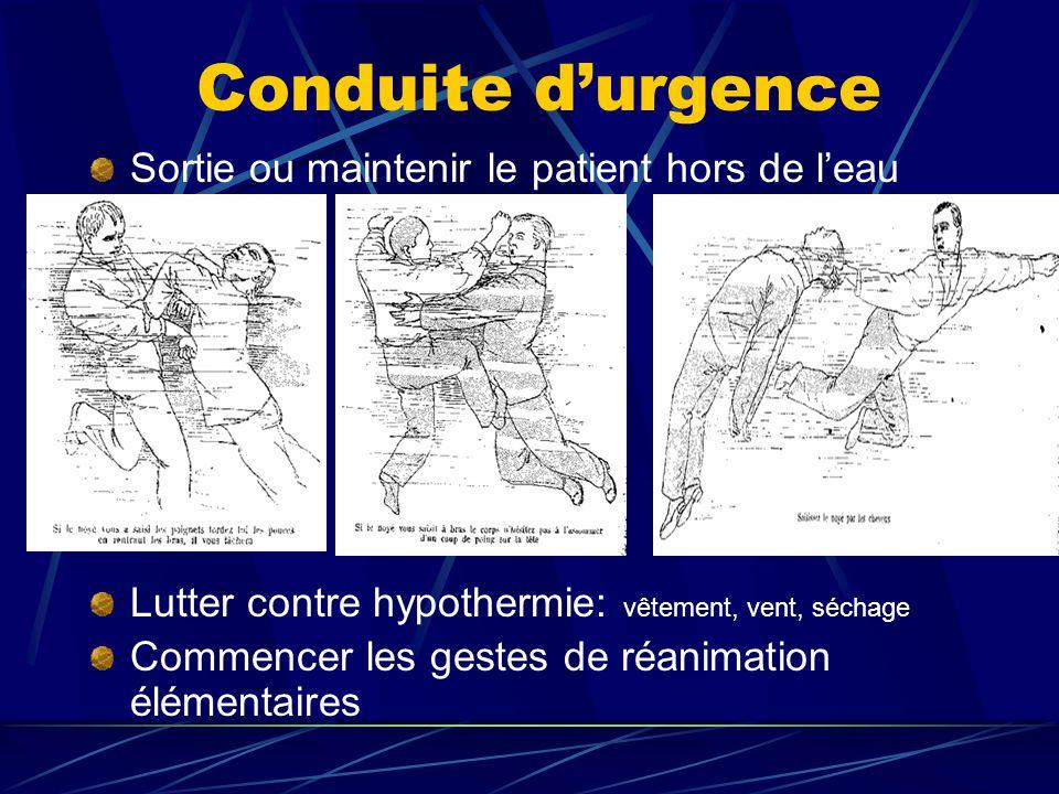 Conduite durgence Sortie ou maintenir le patient hors de leau Lutter contre hypothermie: vêtement, vent, séchage Commencer les gestes de réanimation é