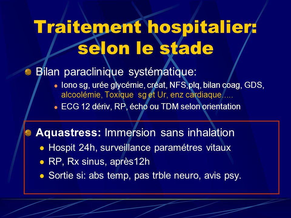 Traitement hospitalier: selon le stade Bilan paraclinique systématique: Iono sg, urée glycémie, créat, NFS,plq, bilan coag, GDS, alcoolémie, Toxique s