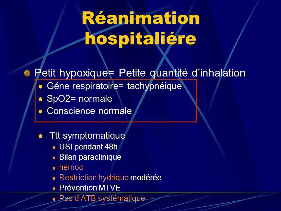 Réanimation hospitaliére Petit hypoxique= Petite quantité dinhalation Géne respiratoire= tachypnéique SpO2= normale Conscience normale Ttt symptomatiq