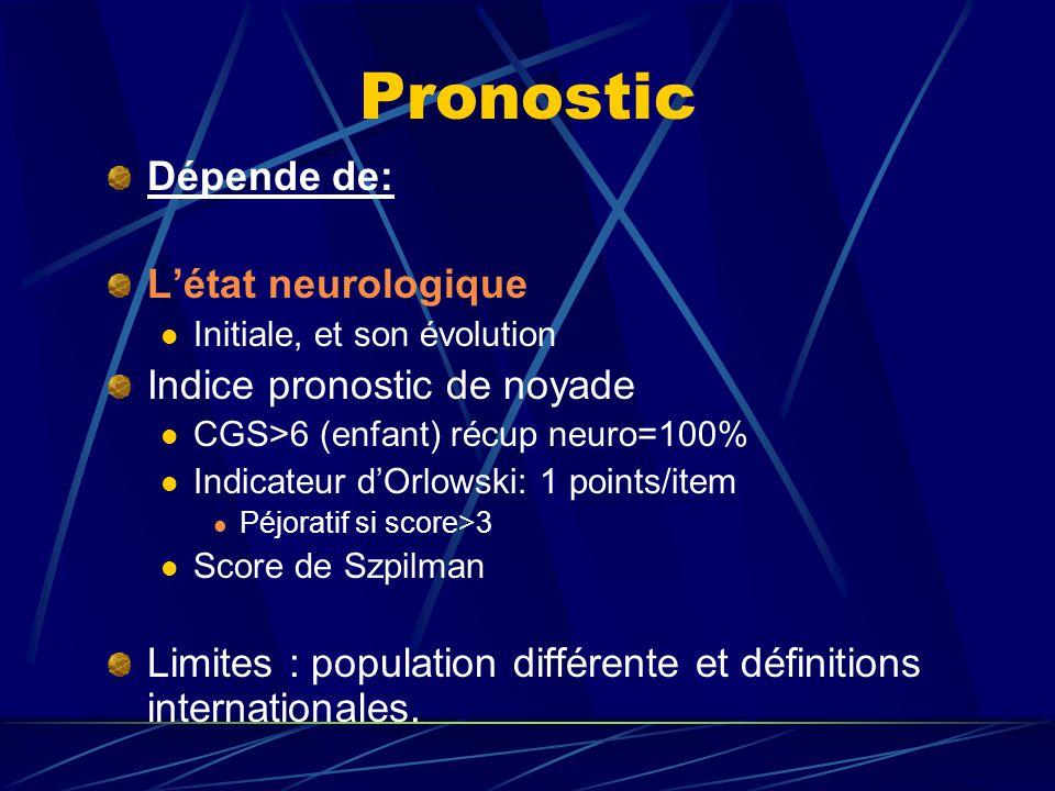 Pronostic Dépende de: Létat neurologique Initiale, et son évolution Indice pronostic de noyade CGS>6 (enfant) récup neuro=100% Indicateur dOrlowski: 1
