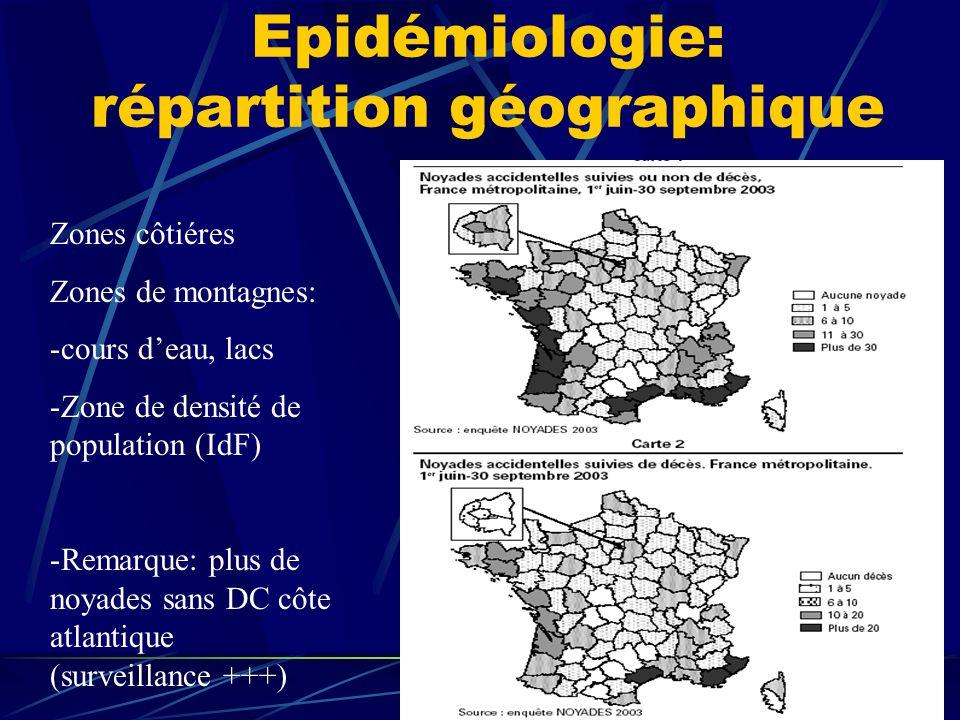Epidémiologie: répartition géographique Zones côtiéres Zones de montagnes: -cours deau, lacs -Zone de densité de population (IdF) -Remarque: plus de n
