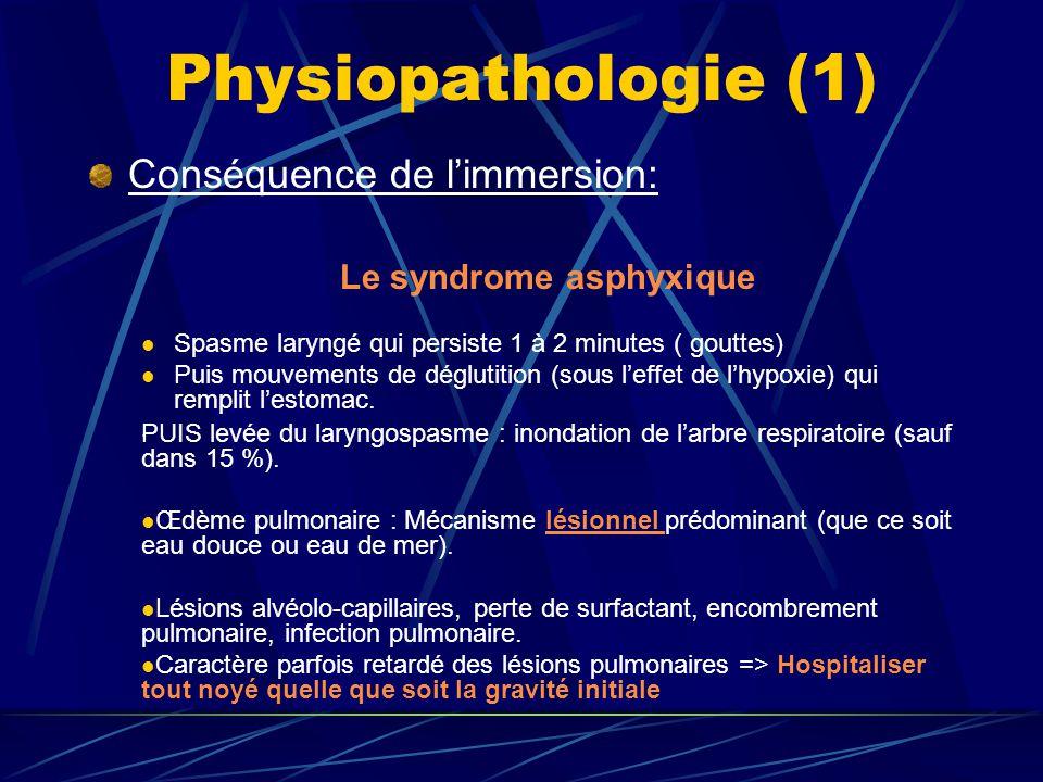 Physiopathologie (1) Conséquence de limmersion: Le syndrome asphyxique Spasme laryngé qui persiste 1 à 2 minutes ( gouttes) Puis mouvements de dégluti