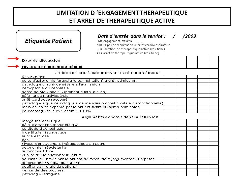 LIMITATION D ENGAGEMENT THERAPEUTIQUE ET ARRET DE THERAPEUTIQUE ACTIVE Etiquette Patient Date d entrée dans le service : / /2009 EM= engagement maxima