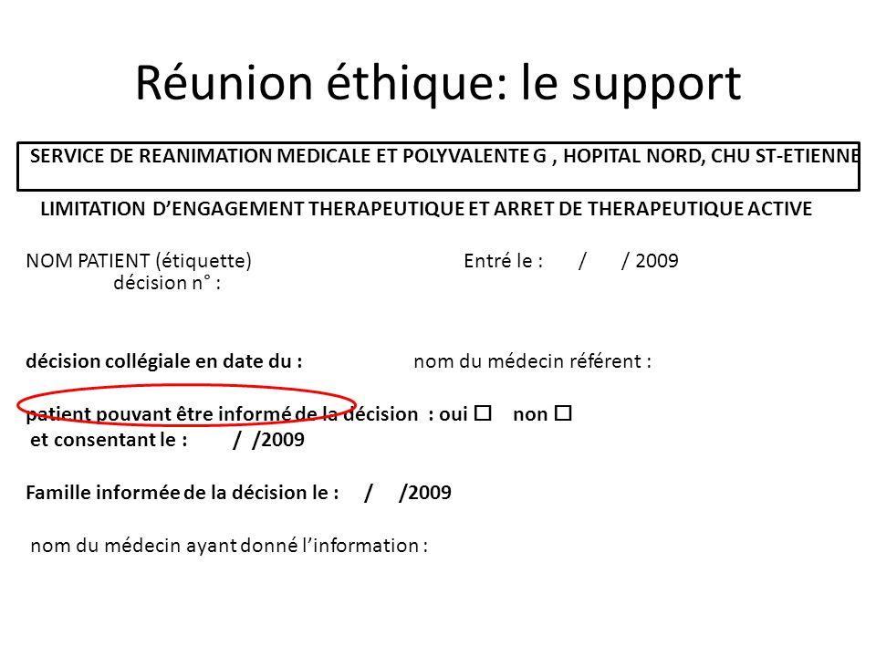 Réunion éthique: le support SERVICE DE REANIMATION MEDICALE ET POLYVALENTE G, HOPITAL NORD, CHU ST-ETIENNE LIMITATION DENGAGEMENT THERAPEUTIQUE ET ARR