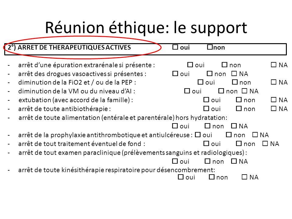 Réunion éthique: le support 2°) ARRET DE THERAPEUTIQUES ACTIVES oui non - arrêt dune épuration extrarénale si présente : oui non NA - arrêt des drogue