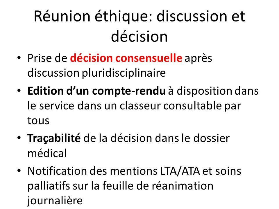 Réunion éthique: discussion et décision Prise de décision consensuelle après discussion pluridisciplinaire Edition dun compte-rendu à disposition dans